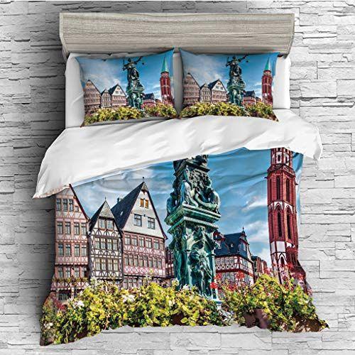 Scocici King Size Duvet Cover Set European Old City Of Frankfurt