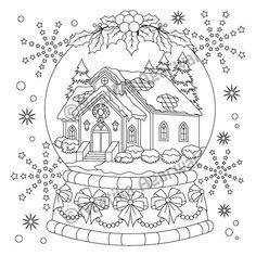 Snow Globe Adult Coloring Page Christmas Coloring Page