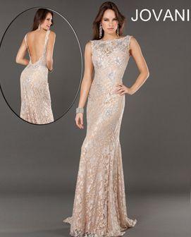 long jovani high neck sparkly open back champagne prom dress ...