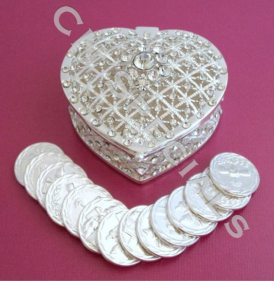 Silver Crystal Rhinestone HEART Wedding Arras Box Amp Unity Coins Arras De Boda Weddings Bridal