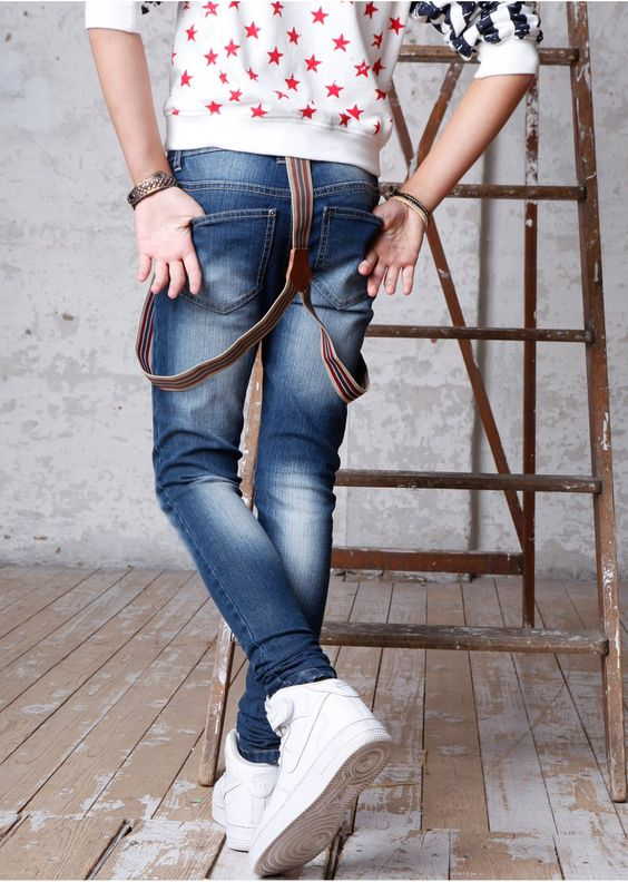Jeans with suspenders