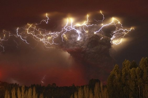 Lightning in volcanic cloud.
