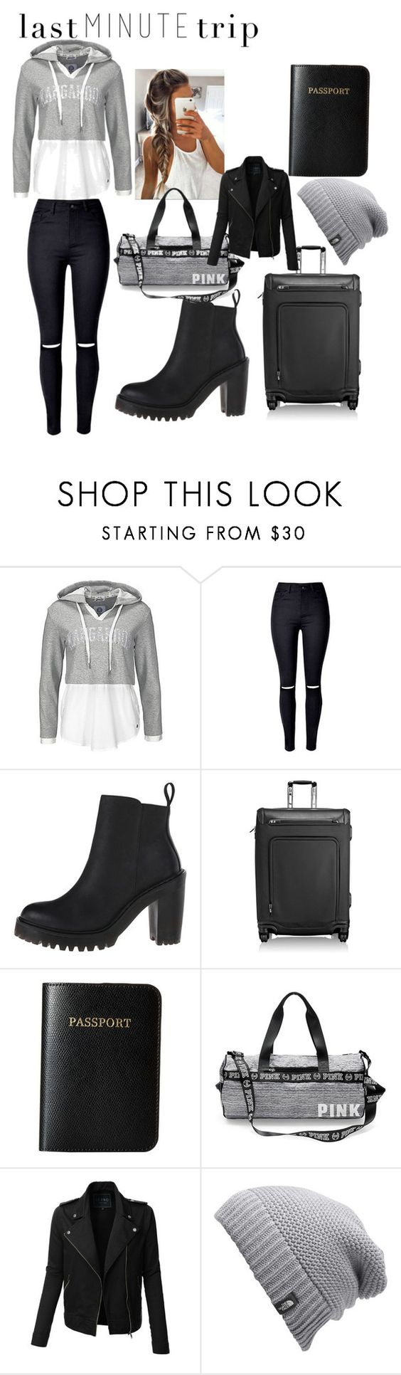 """""""Last minute trip to the airport"""" by sportydiva782 ❤ liked on Polyvore featuring Dr. Martens, Tumi, Vera Bradley, LE3NO and The North Face"""
