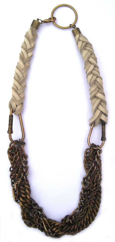 braided leather and mixed chain necklace: