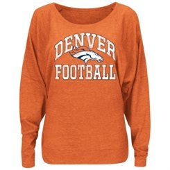Women's Denver Broncos Majestic Orange Sweet Signal Dolman Long Sleeve Tri-Blend T-Shirt