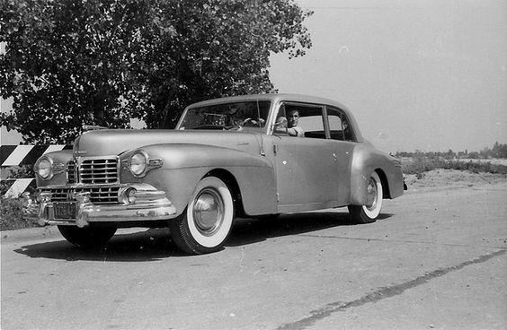 Steve Frenkel at the wheel of Sam Hackin's 1947 metallic gold Lincoln Continental at St. Joseph, Michigan in 1959.  Photo by Alan Frenkel