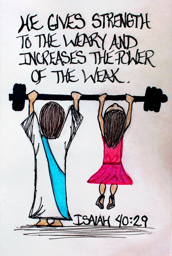 """He gives strength to the weary and increases the power of the weak."" Isaiah 40:29 (Scripture doodle of encouragement):"