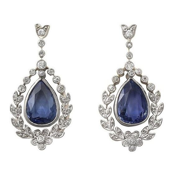 Antique Sapphire and Diamond Earrings Circa 1930 (¥639,775) ❤ liked on Polyvore featuring jewelry, earrings, antique sapphire jewelry, earrings jewelry, diamond jewellery, sapphire jewelry and antique jewellery