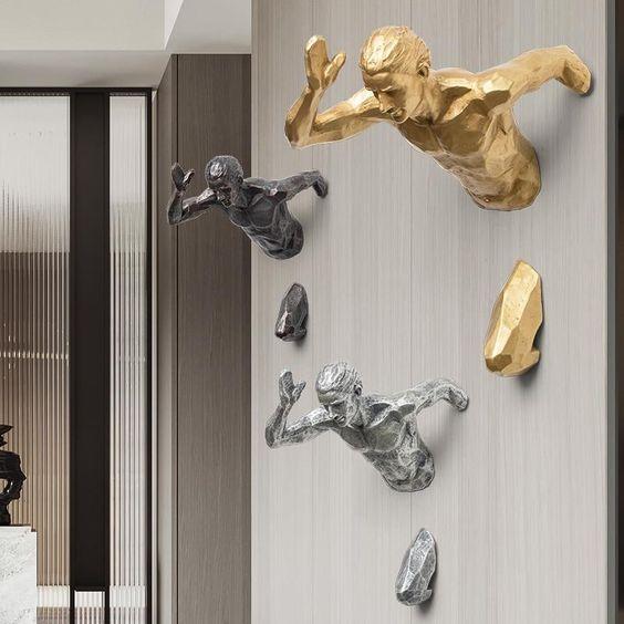 Kreative Statue Running Man ein Rennen Gegen die Zeit Fgurine Wand Dekoration Relief-3D-Figuren Wandbehang Skulptur Ornament
