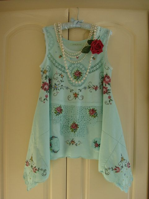 Gorgeous Upcycled Vintage Embroidered Cotton Rose Tablecloth Top Asymmetrical Irregular Hem Tunic Aqua Green