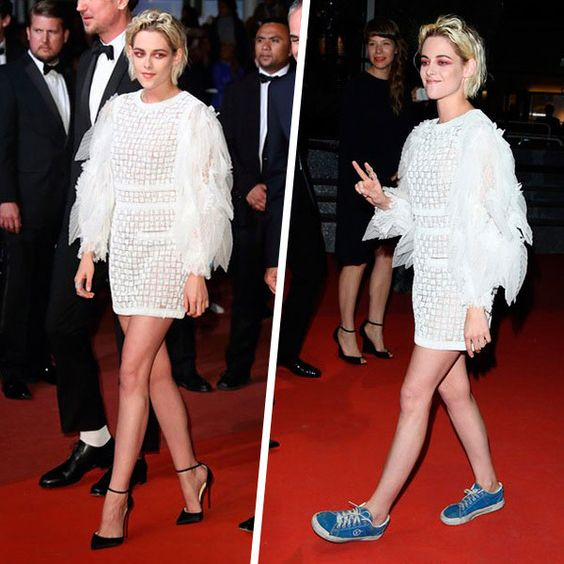 kristen stewart dress sneakers red carpet