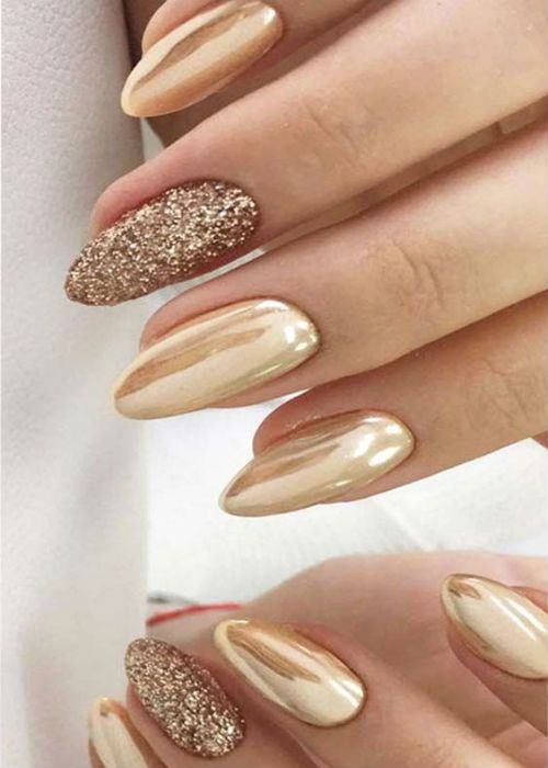 15 Of The Terrific Golden Glitter Wedding Nail Art Designs That Are Truly Incredible Dinga Poonga Gold Nail Art Golden Nails Stylish Nails Designs