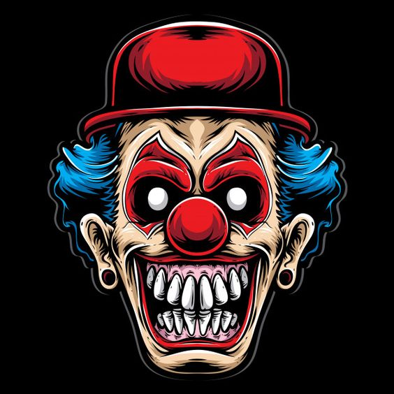 Scary clown with red hat Premium Vector | Premium Vector #Freepik #vector #logo #halloween #character #cartoon