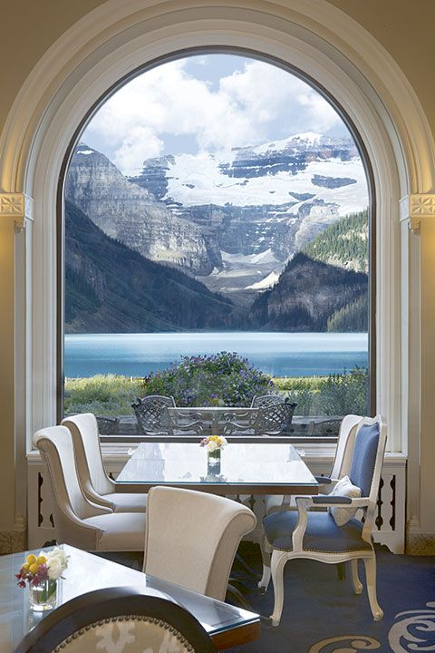 Gypsy Living Traveling In Style| Rocky Mountain Views from dining table at the Fairmont Chateau Lake Louise http://www.janetcampbell.ca/