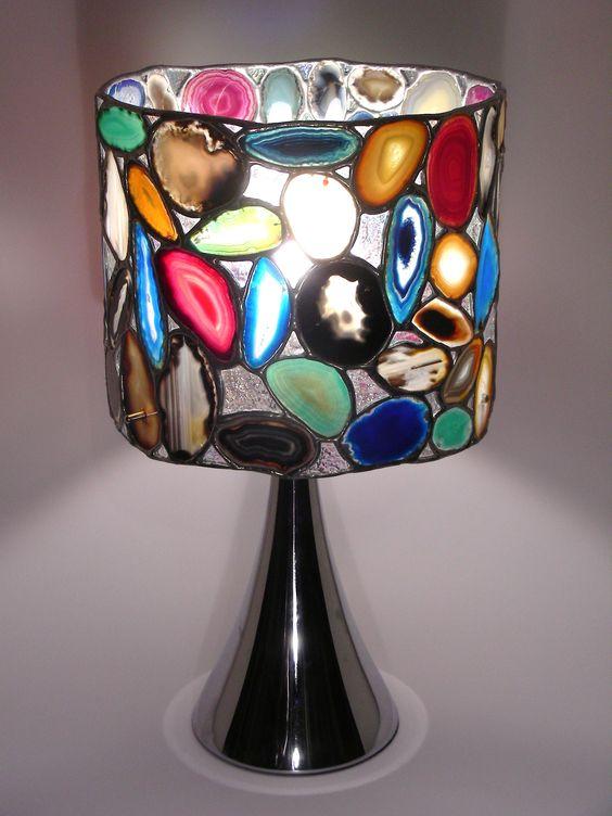 bunte Achatlampe Durchmesser 28 cm