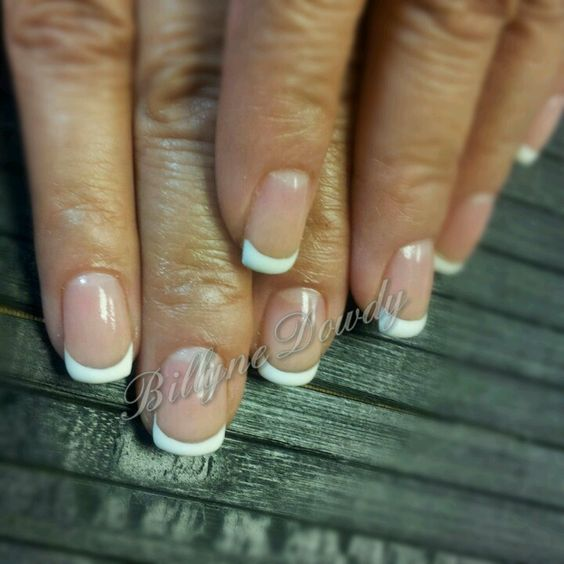 Simple French Manicure done on natural nails.