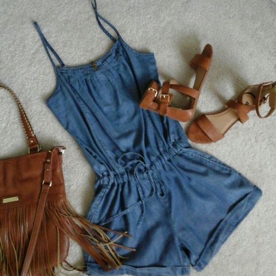 SALE!! (NEW) Jean romper Blue denim shorts romper with tie waist & 2 slanted front pockets. Elastic across the back for comfort. Adjustable shoulder straps. Velvet Heart Other: