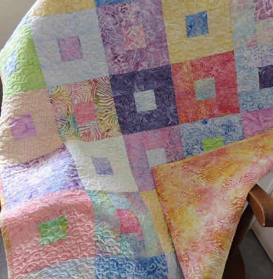Baby Girl Modern Batik Quilt, Baby Girl Quilt Blanket, Variety of Colours Baby Quilt, Pink Yellow Orange Nursery Bedding, Toddler Lap Quilt