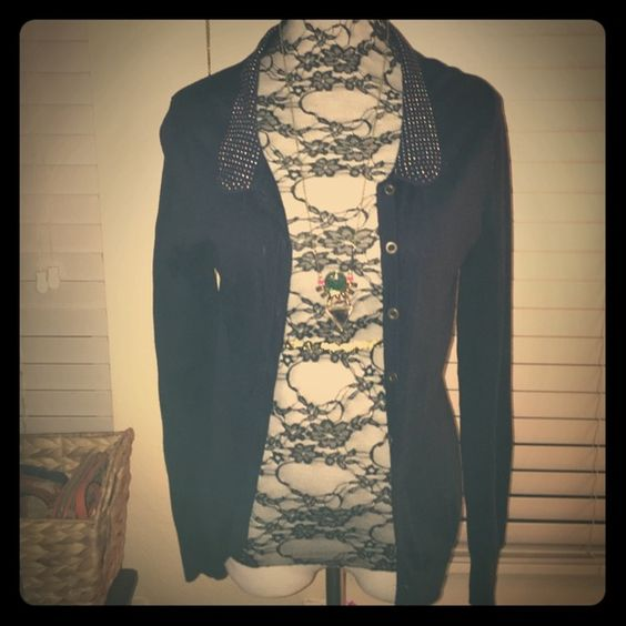 Navy blue cardigan Beautiful detail on collar. NWOT Sweaters Cardigans