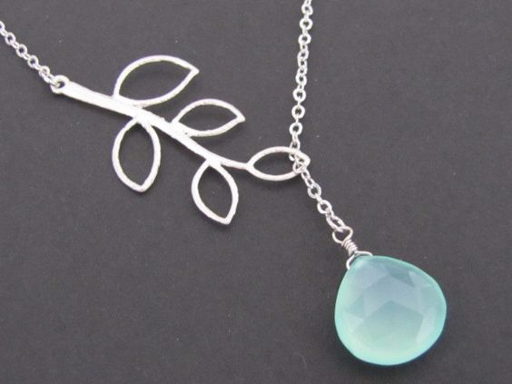 Branch and chalcedony lariat in white gold (N140). $23.00, via Etsy.