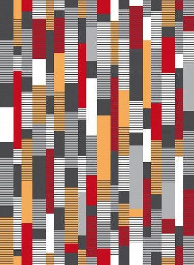 Moderne Streifen-Tapete mit weißen und roten Akzenten