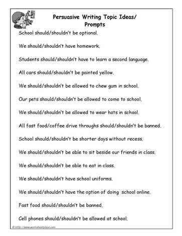 Persuasive Writing Prompts School Days Pinterest - argumentative essay example