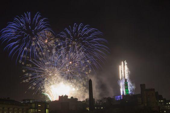 Firework of top of Calton Hill | Edinburgh Hogmanay