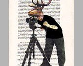 2 ORIGINAL ARTWORKS 2 Mr Deer posing-  Mixed Media, Hand Painted  on 1920 famous Parisien Magazine 'La Petit Illustration' by Coco De Paris. $20.00, via Etsy.