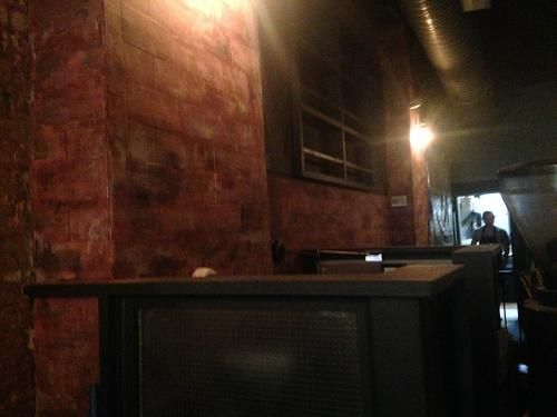 FAUX STONE RESTAURANT interior design hand painted decor faux stone painted restaurant and bar gray walls CROWN HEIGHTS BROOKLYN NY NYC (347) 223-7533   info@muralpainternyc.com www.muralpainternyc.com