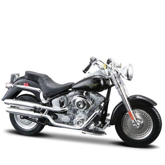 Miniatura Moto Harley-Davidson 2004 FLSTFI Fat Boy Maisto 1:18 - Machine Cult   A loja das camisetas de carro e moto