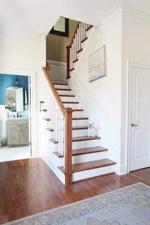 How To Prep And Paint Stained Stairs White Stained Staircase   Stained Stairs And Risers   Two Tone   Natural   Bead Board   Gray Painted   Finished