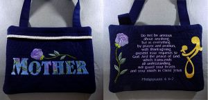 commissioned works - Sew Gaelic (showing back of bag to show scripture verse and rose instead of cross)