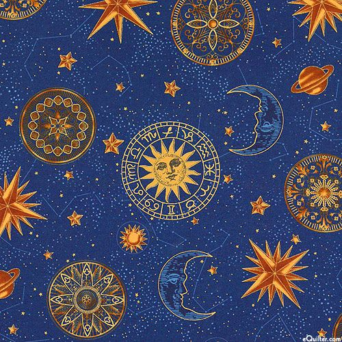 Star Gazing - Horoscope Orbs - Navy Blue/Gold