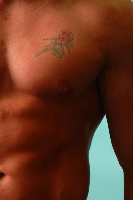 Man with rose tattoo