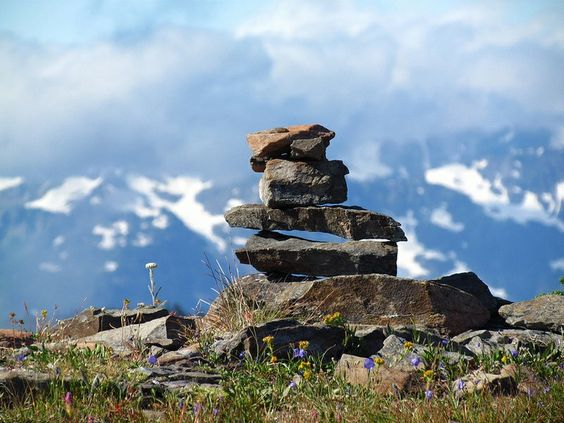 A cairn marking the trail on Grand Valley in the Olympics. Photo and Trip Report by Hikingqueen. #hikes #hiking