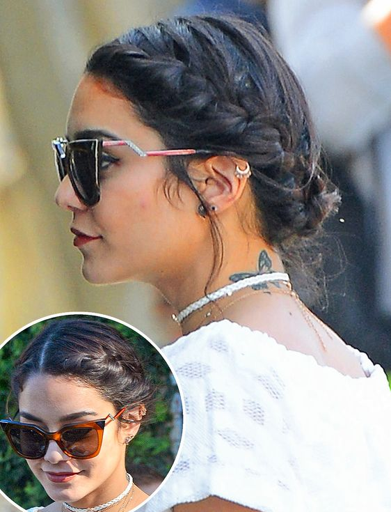 10 Super-Chic Updo Ideas for Short Hair | People - Vanessa Hudgens' braided hairstyle