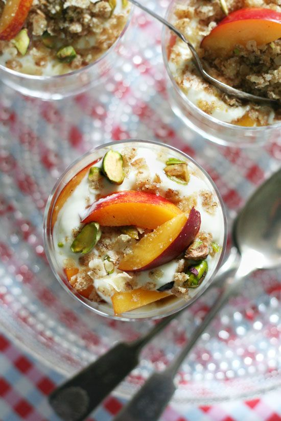 nectarine and pistachio crunch layers