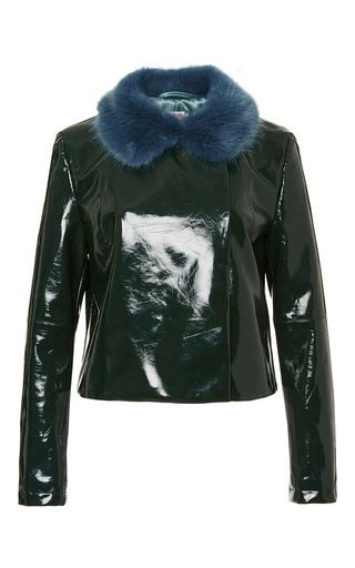 Green Betsy Jacket With Faux Fur Collar by SHRIMPS Now Available on Moda Operandi
