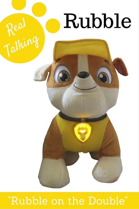 Really Awesome Toys For Boys : Paw patrol talking rubble plush dog on the double
