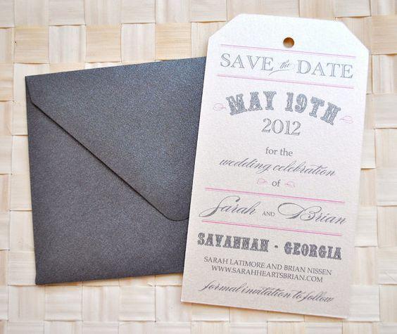 Vintage Tag Wedding Save the Date  Ivory Pink Charcoal door lvandy27, $1.39