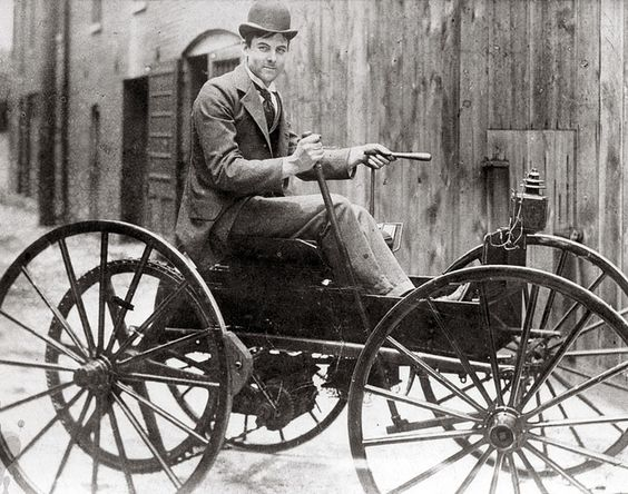 J.D. Perry Lewis and his battery powered horseless vehicle, the first in St. Louis. Photograph, ca. 1893.