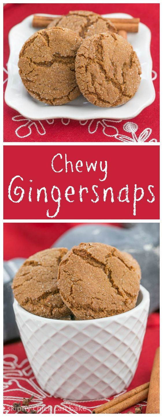 Chewy, buttery and perfectly spiced gingersnaps! One of my most requested recipes plus 40+ more holiday cookie recipes! #Cookielicious From thatskinnychickcanbake.com @lizzydo
