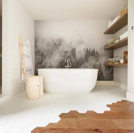 Foggy Hills Mural Black And White Wallpaper White Wallpaper Home