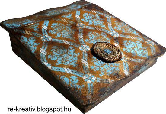 Arany - türkiz doboz stencillel ~ Dekupázs, dekoráció, DIY - Re-Kreativ Blog