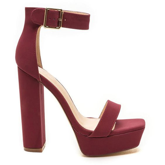 Square Away Chunky Faux Nubuck Heels WINE (€31) ❤ liked on Polyvore featuring shoes, red, red open toe shoes, red ankle strap shoes, chunky shoes, nubuck shoes and thick heel shoes