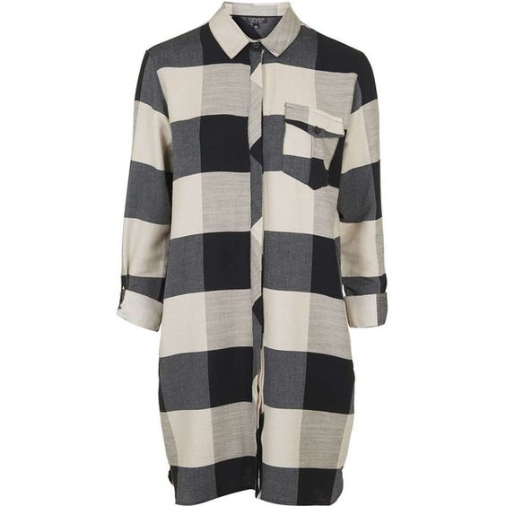 TopShop Oversized Check Shirt-Dress (73 CAD) ❤ liked on Polyvore featuring dresses, tops, shirts, short dress, navy blue, navy blue dress, navy dress, cotton mini dress, shirt dress and cotton shirt dress