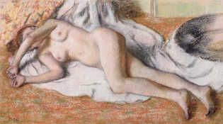 After the Bath or, Reclining Nude, c.1885 by Edgar Degas