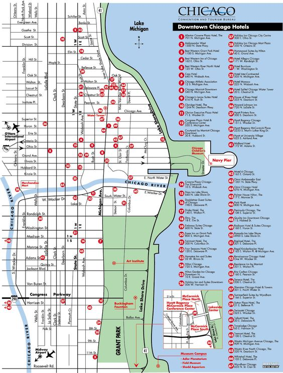 Map of downtown chicago hotels chicago maps fun things for All hotels downtown chicago
