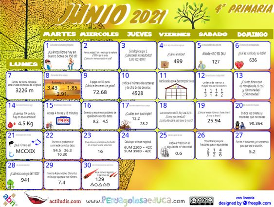 Calendario Cuarto ABN – Junio 2021