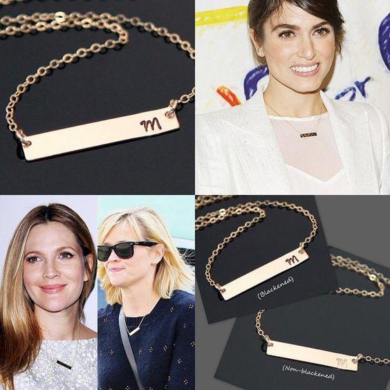 Celebrity BAR Necklace Nikki Reed  Reese by AlexisKJewels on Etsy